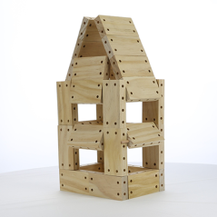 toy house built with smart blocks