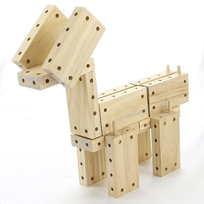 an animal built from blocks